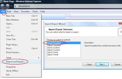 cara mengembalikan atau impor Favorites pada Internet Explorer