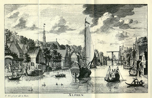The village of Alphen (now Alphen a/d Rijn) in about 1700 as seen from the River Rhine.