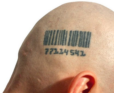 in barcode form, and then have the barcode tattooed on our hides: