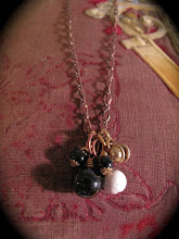 Antique rosary beads, Howlite, onyx, and brass charm