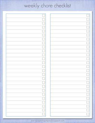 Blank weekly checklist