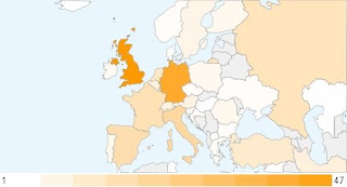 Distribution of potential Google Lunar X PRIZE teams within Europe, as of July 28, 2008. Credit: X PRIZE Foundation