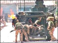 Forces de coalitions dans la région d'Uruzgan, dans le sud de l'Afghanistan combattant des Taliban.