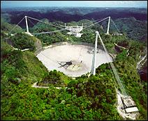 L'observatoire radioastronomique d'Arecibo, à Porto Rico. Document NAIC.