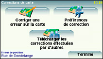 Les options de correction de MapShare.