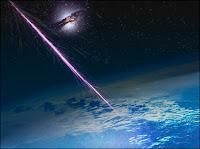 Des rayons comsiques arrivant sur Terre et de décomposant dans l'atmosphère. Document Pierre Augier Obs.