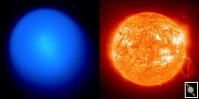 A gauche, la comète Holmes photographiée au télescope CFHT de 3.6m d'Hawaii présente une coma de 1.4 millions de km. Le petit point blanc central est le noyau de la comète. A droite, le Soleil et Saturne à la même échelle. Documents IfA, SOHO et NASA.
