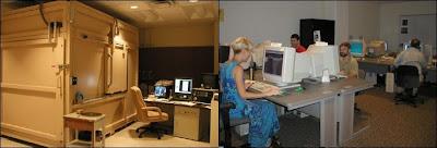 A gauche le scanner CAT, à droite le laboratoire d'analyse d'image de l'Université du Texas à Austin.
