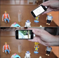 Déclenchement d'une vidéo sur l'iPhone lorsque son lecteur RFID s'approche de la figurine taggée avec une puce RFID. Document NearField.