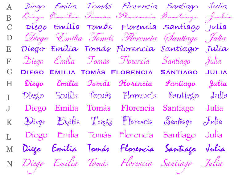 nombre de diferentes tipos de letras imagui