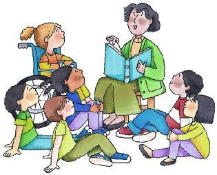 Several children are sitting down to listen to a teacher read a book