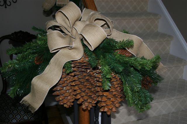 large pinecones along with burlap ribbon bows set the stage for this year i ordered a box of these big babies a couple years ago from washington state - Burlap Outdoor Christmas Decorations