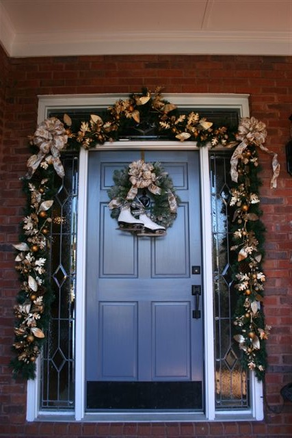 Front Door With Lighted Garland And Wreath. Our Daughters Were Both  Competitive Figure Skaters At One Point. The Skates Were Our Oldest  Daughteru0027s First ...