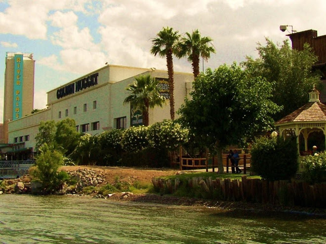 One of the gambling hotel/casinos & Colorado River.