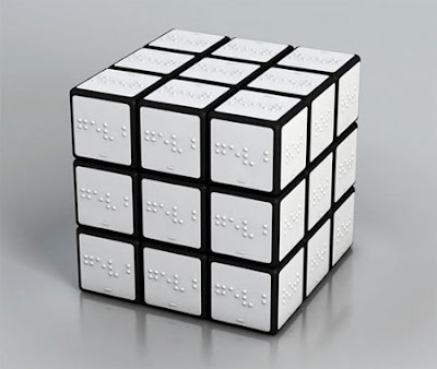 rubik's cub with braille on each tile instead of colours