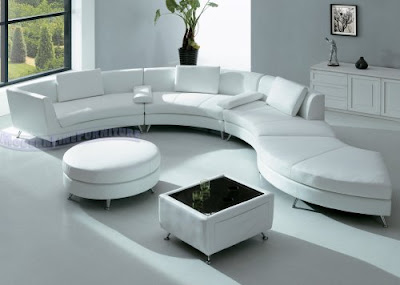 Modern Furniture White Leather Sectional Sofa with Ottoman and Mini Bar table Set