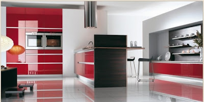 Modern Retro Kitchen design Red and White Kitchen design ideas