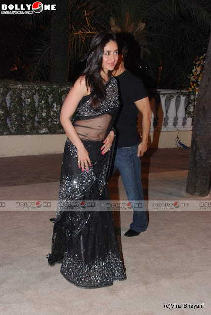 Kareena In Transparent Black Saree at Imran Avantika Wedding Reception Pictures