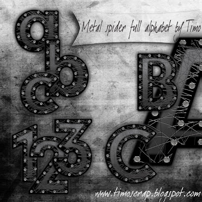 http://timoscrap.blogspot.com/2009/09/freebie-metal-spider-full-alphabet-by.html