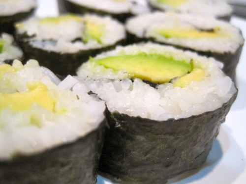 veggie table: Avocado Sushi Rolls