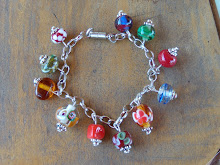 Pulsera de perlas de murano y fantasia.