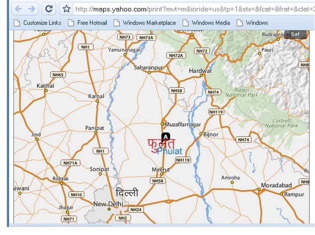 Map Delhi to Phulat