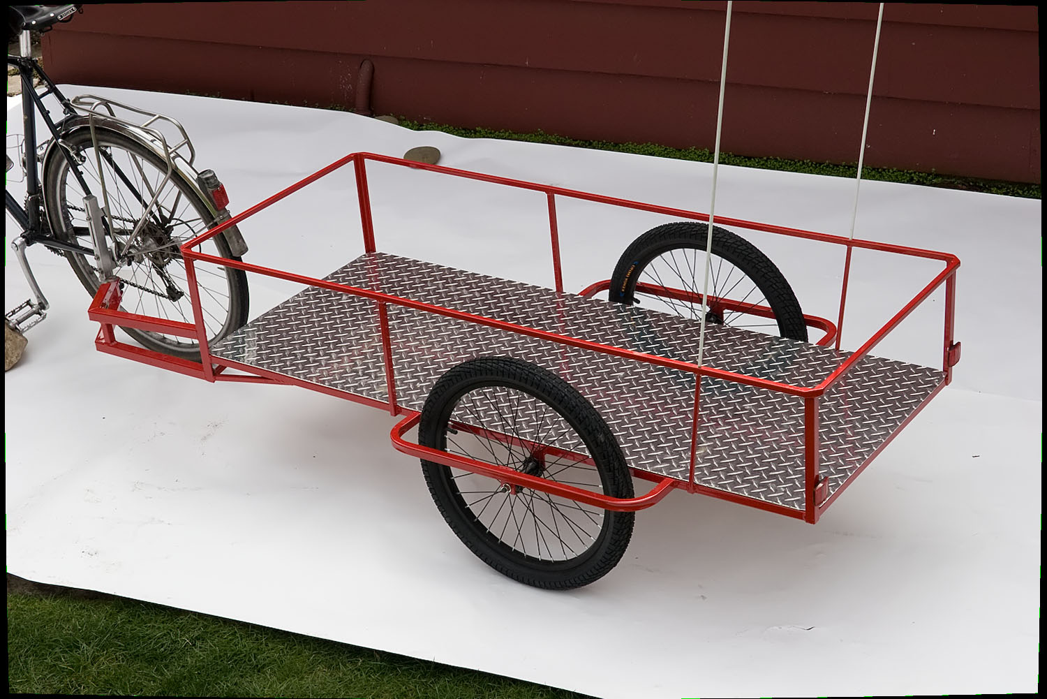bicycle camper trailer plans with model photo