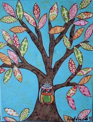 owl in tree art