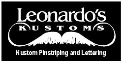 Leonardo's Kustoms pinstriping and lettering