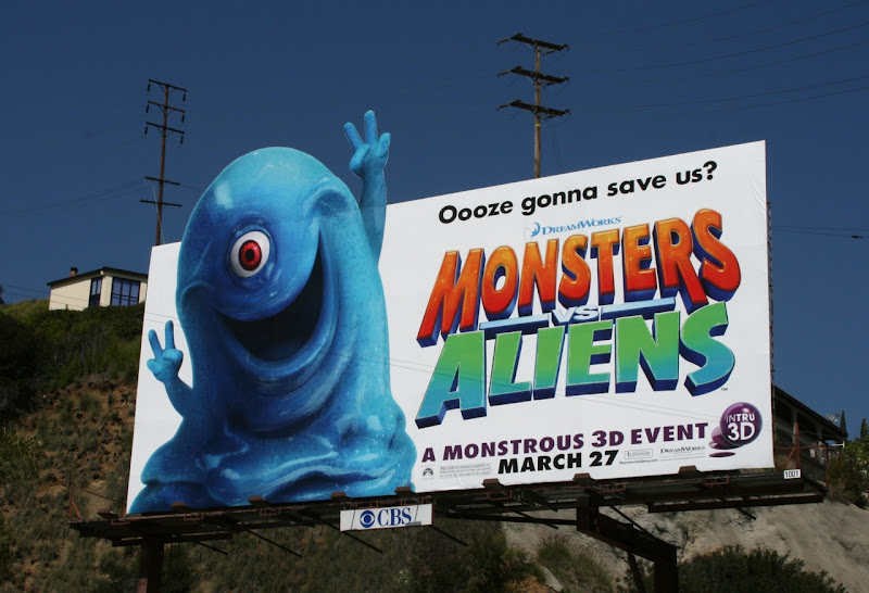 Monsters vs Aliens film billboard