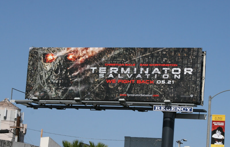 Terminator Salvation skull cityscape billboard