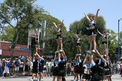 Cheerleaders entertain the spectators in style