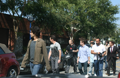 Adrian Grenier and the cast of Entourage at a photoshoot on Santa Monica Blvd, West Hollywood