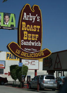 Arby's Roast Beef Sandwich sign on Sunset Blvd