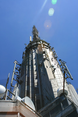 The Empire State Building spire close up