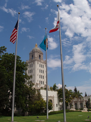 Flags flying outside Beverly Hills City Hall