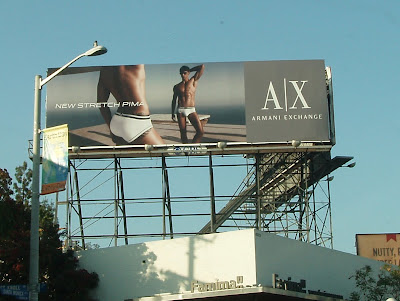Armani Exchange male model underwear billboard