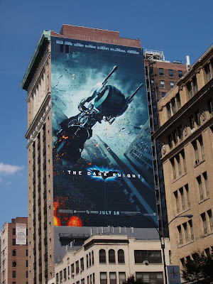 The Dark Knight Bat-pod movie billboard in New York City