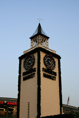 Festive Farmers Market clock tower