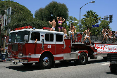 Micky's Flaming gay bar float at WEHO gay Pride June 08