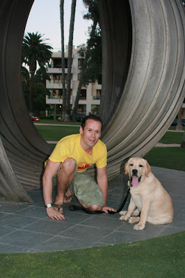 Jason and Cooper in Palisades park in Santa Monica
