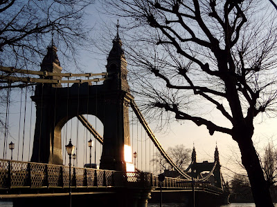 Hammersmith Bridge over River Thames in London