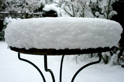 Snow covered garden table in London