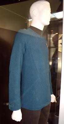 Close up of new Star Trek blue uniform costume