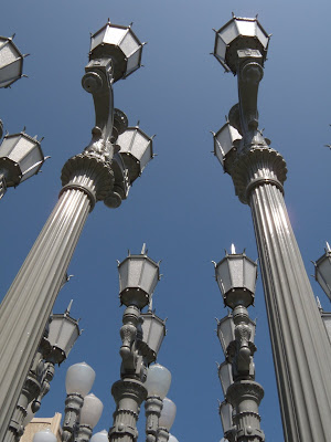 Vintage street lamps of Urban Light sculpture