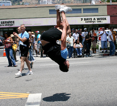 West Hollywood Gay Pride Parade cheerleader flips out 2008