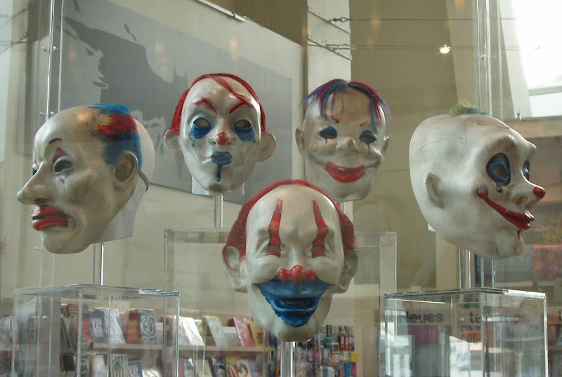 The Dark Knight movie Joker's henchmen clown masks