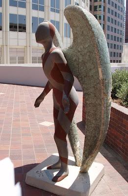 Downtown Los Angeles Glittering Angel sculpture by Sue keane