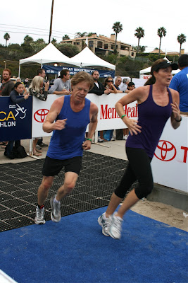 William H Macy finishing the Malibu Triathlon