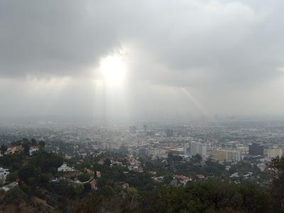 Sun rays shining on Hollywood